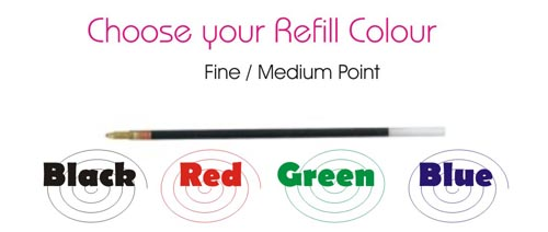 Pen refill ink colours