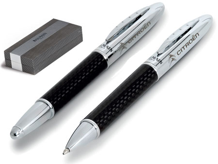 Balmain Carbon Fibre Pen and Rollerball Pen Set